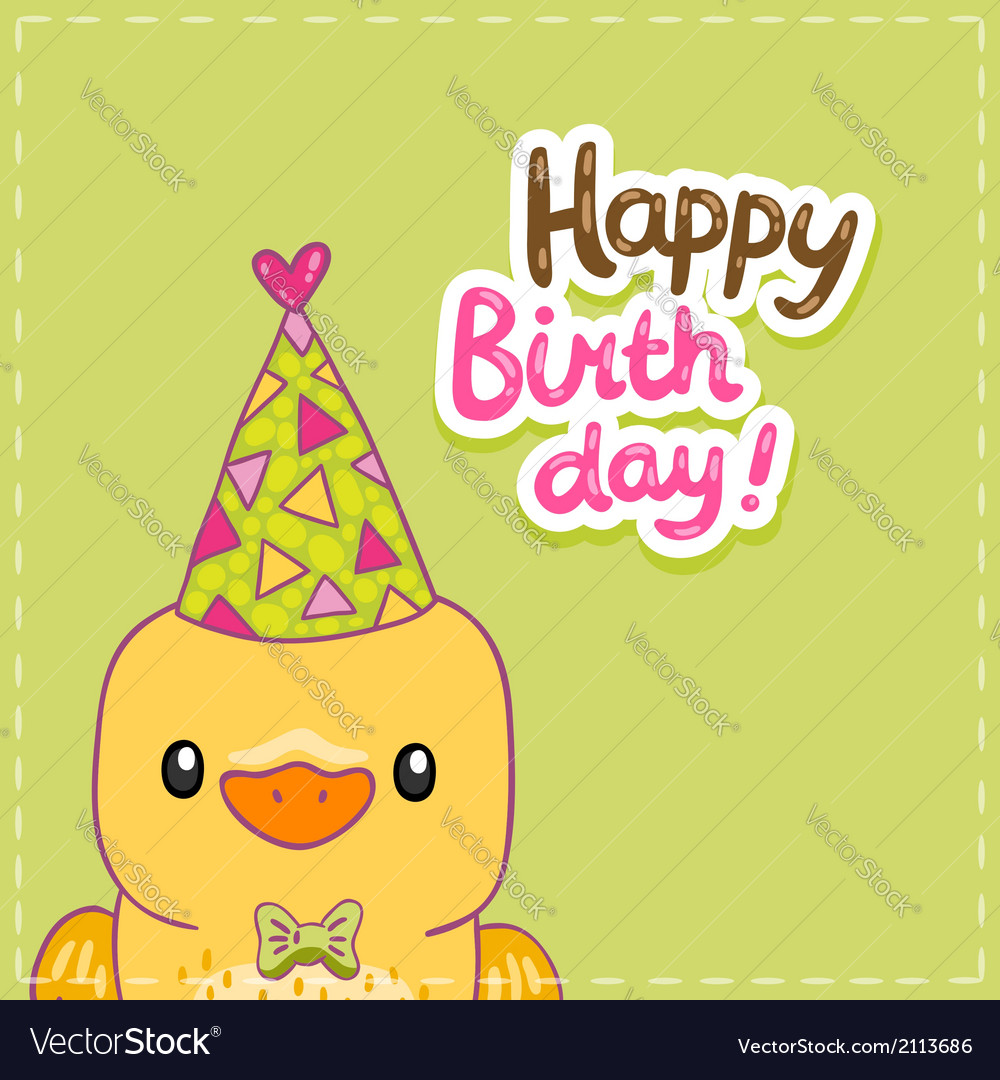 Happy birthday card background with a bird vector | Price: 1 Credit (USD $1)
