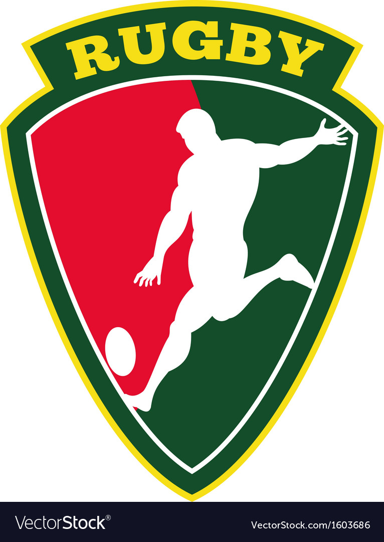 Rugby player kicking ball shield vector   Price: 1 Credit (USD $1)