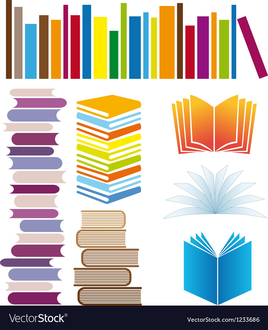 Set of book arrangements vector | Price: 1 Credit (USD $1)