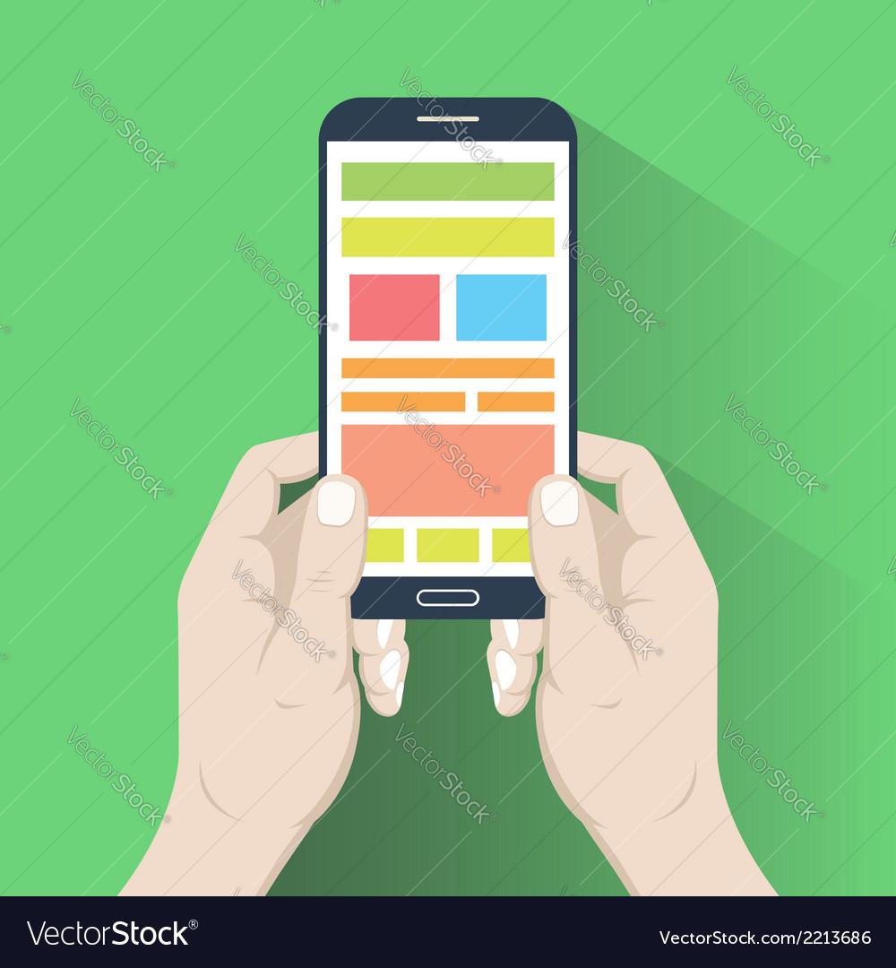 Smartphone in hands flat design vector   Price: 1 Credit (USD $1)