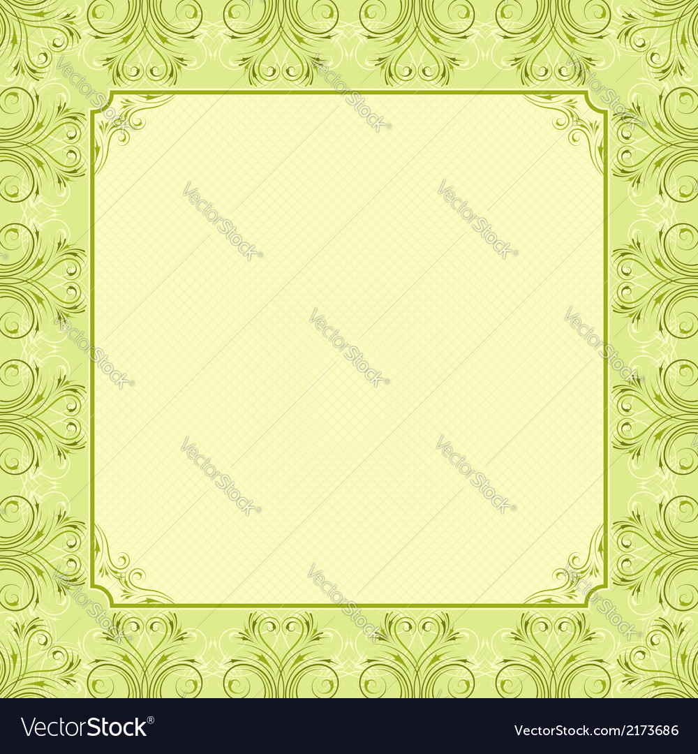 Square green background with decorative ornate vector | Price: 1 Credit (USD $1)