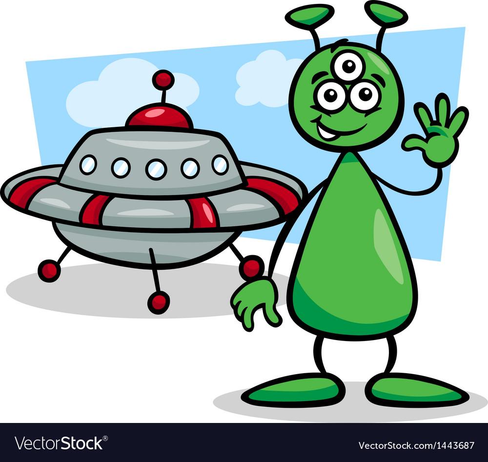 Alien with ufo cartoon vector | Price: 1 Credit (USD $1)