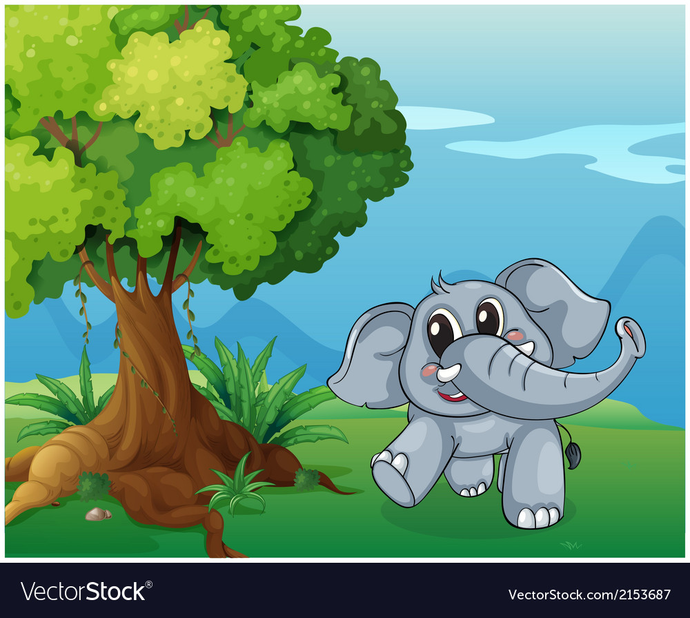 An elephant beside the tree vector | Price: 3 Credit (USD $3)
