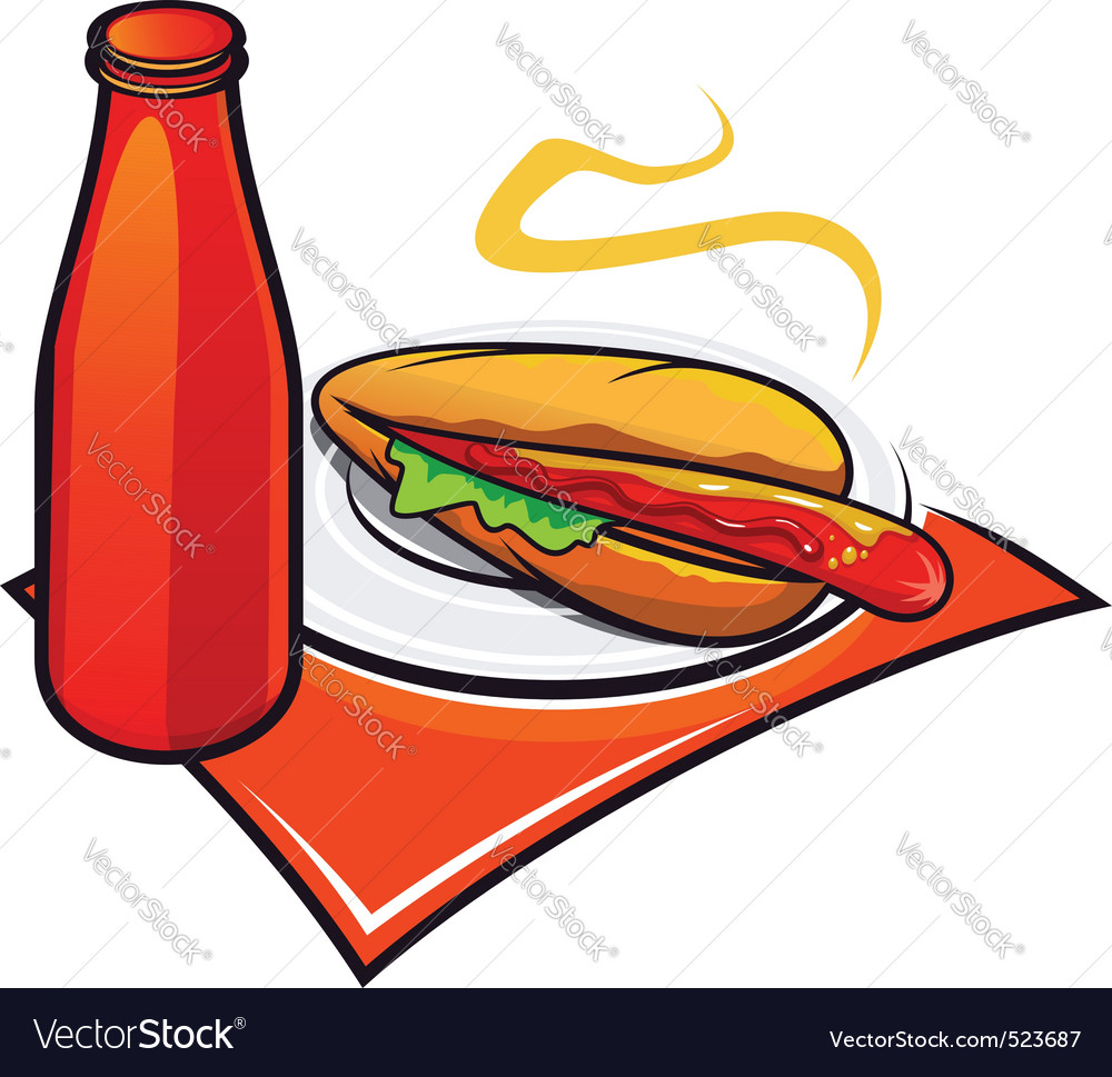 Appetizing hotdog with ketchup vector | Price: 1 Credit (USD $1)