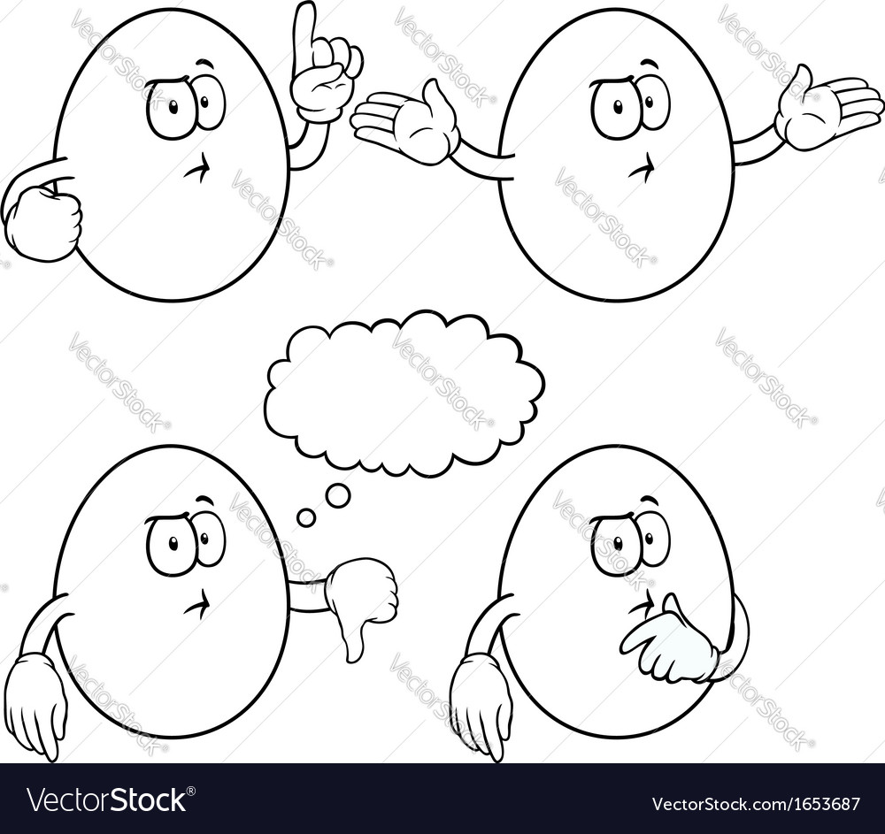 Black and white thinking egg set vector | Price: 1 Credit (USD $1)