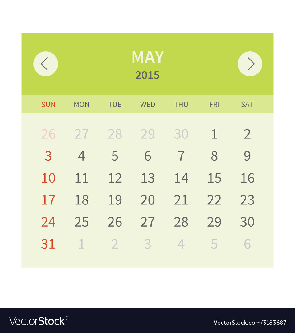 Calendar monthly may 2015 in flat design vector | Price: 1 Credit (USD $1)