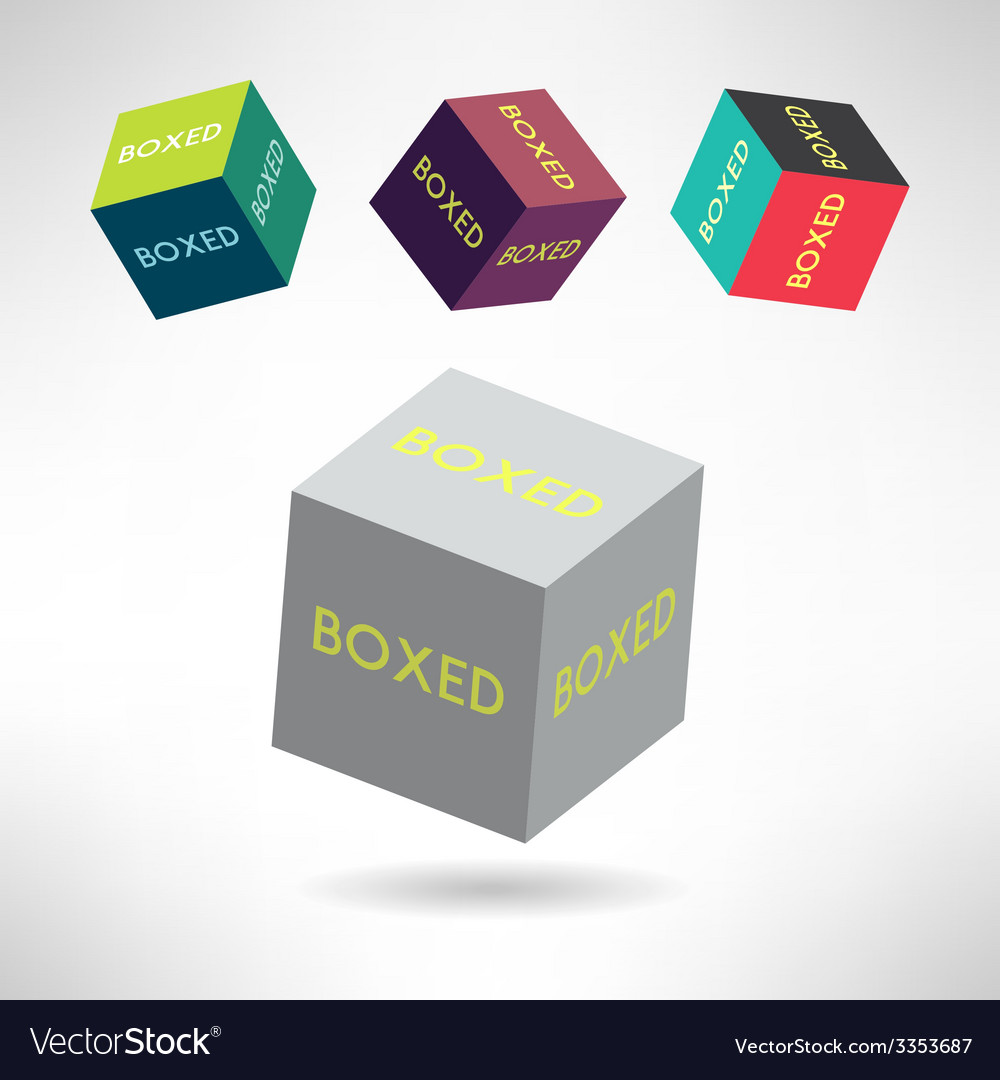 Colorful box icons set with boxed labels shipping vector | Price: 1 Credit (USD $1)