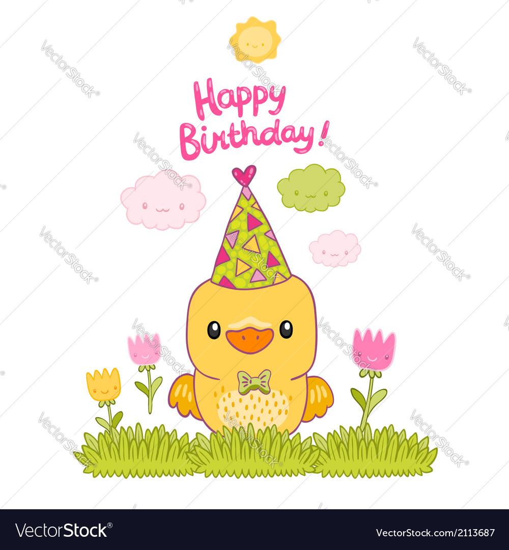 Happy birthday card with a canary bird and tulips vector | Price: 1 Credit (USD $1)