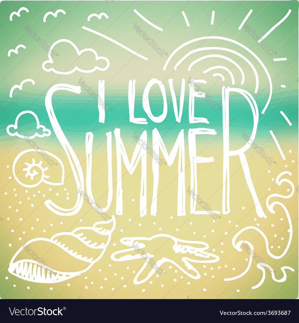 I love summer doodle vector | Price: 1 Credit (USD $1)