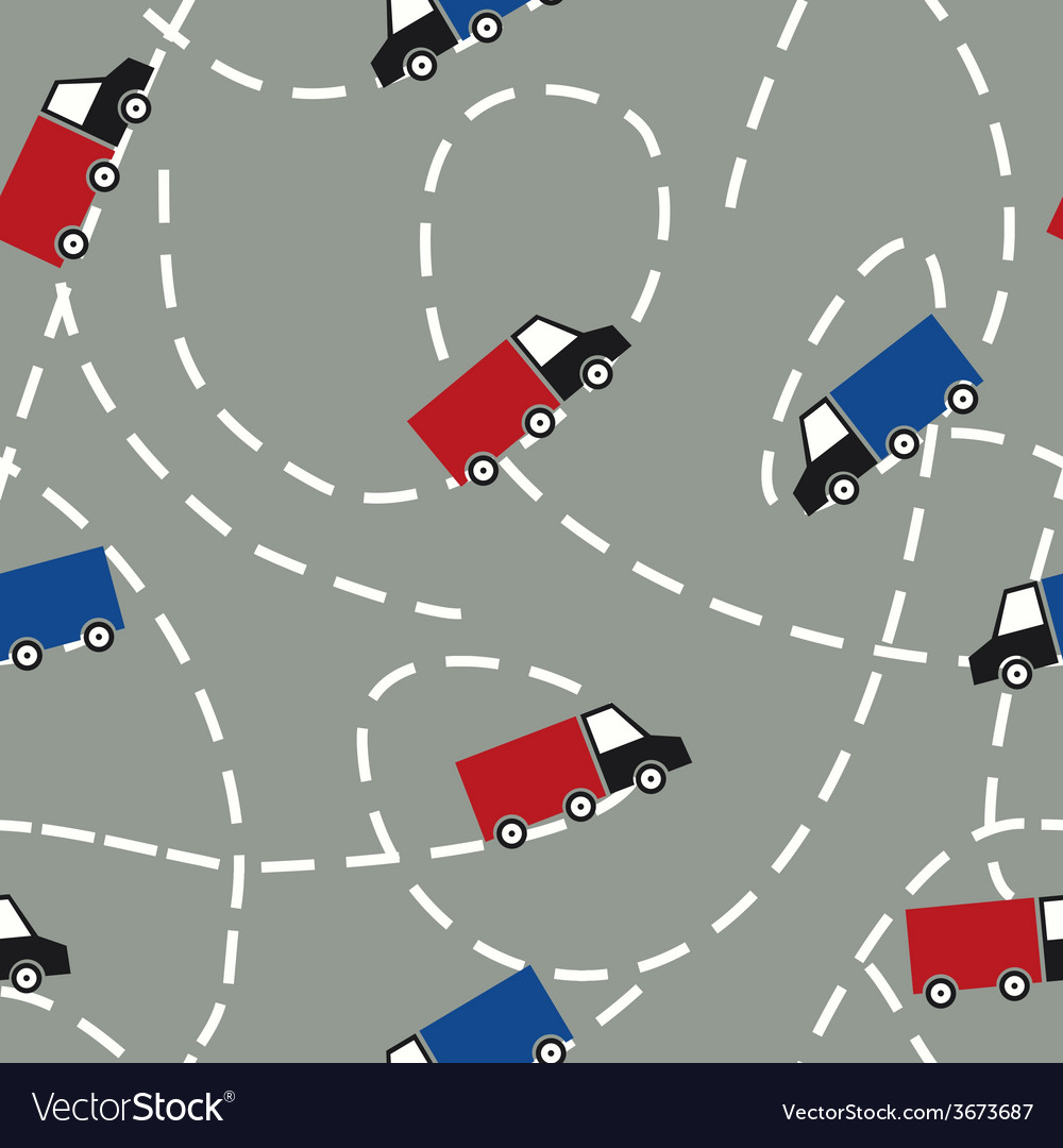 Seamless pattern with trucks delivery concept vector | Price: 1 Credit (USD $1)