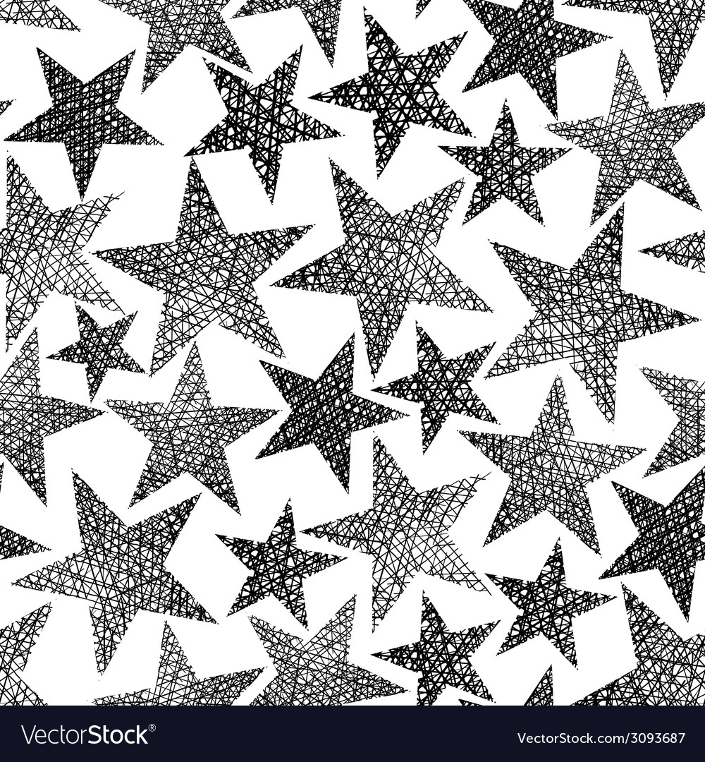 Stars seamless pattern repeating black and white vector | Price: 1 Credit (USD $1)