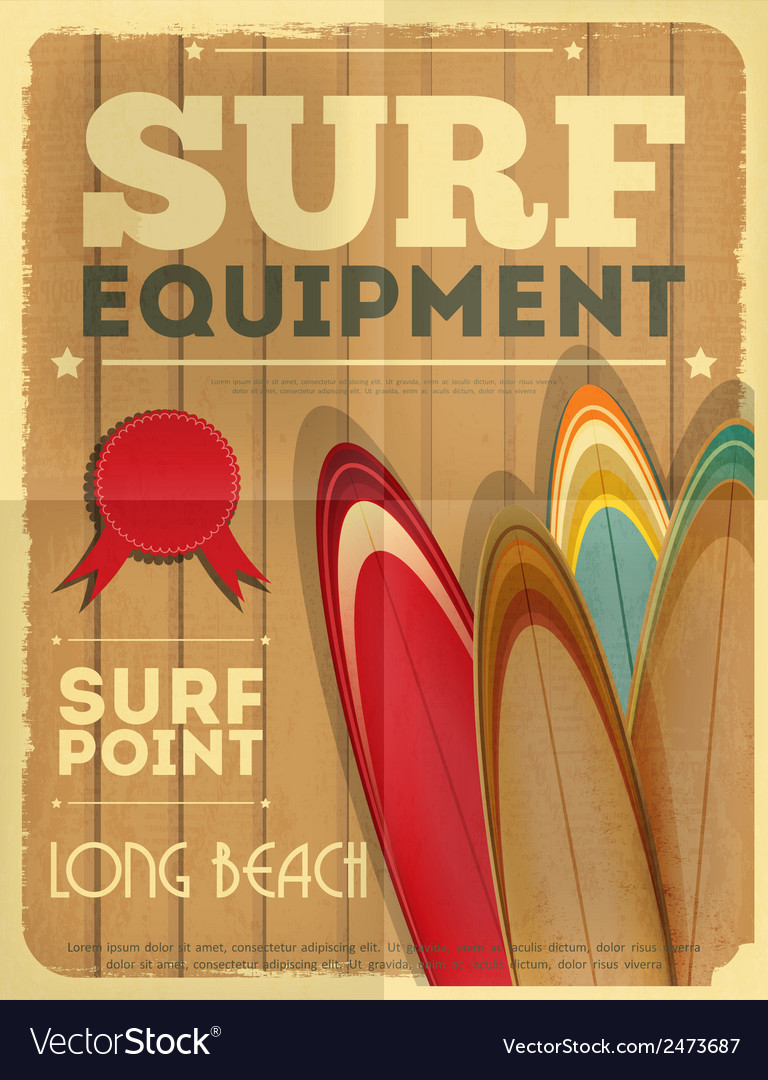 Surf retro poster vector | Price: 1 Credit (USD $1)