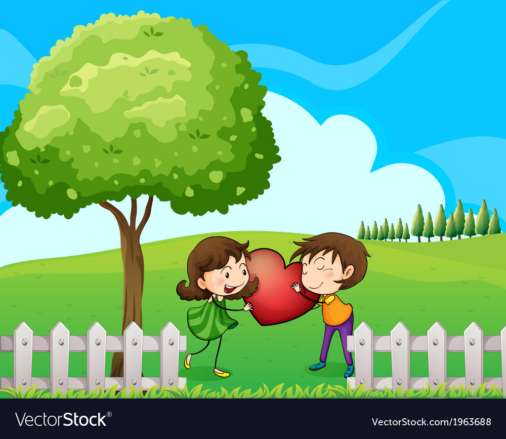 A couple at the hilltop near the wooden fence vector | Price: 3 Credit (USD $3)