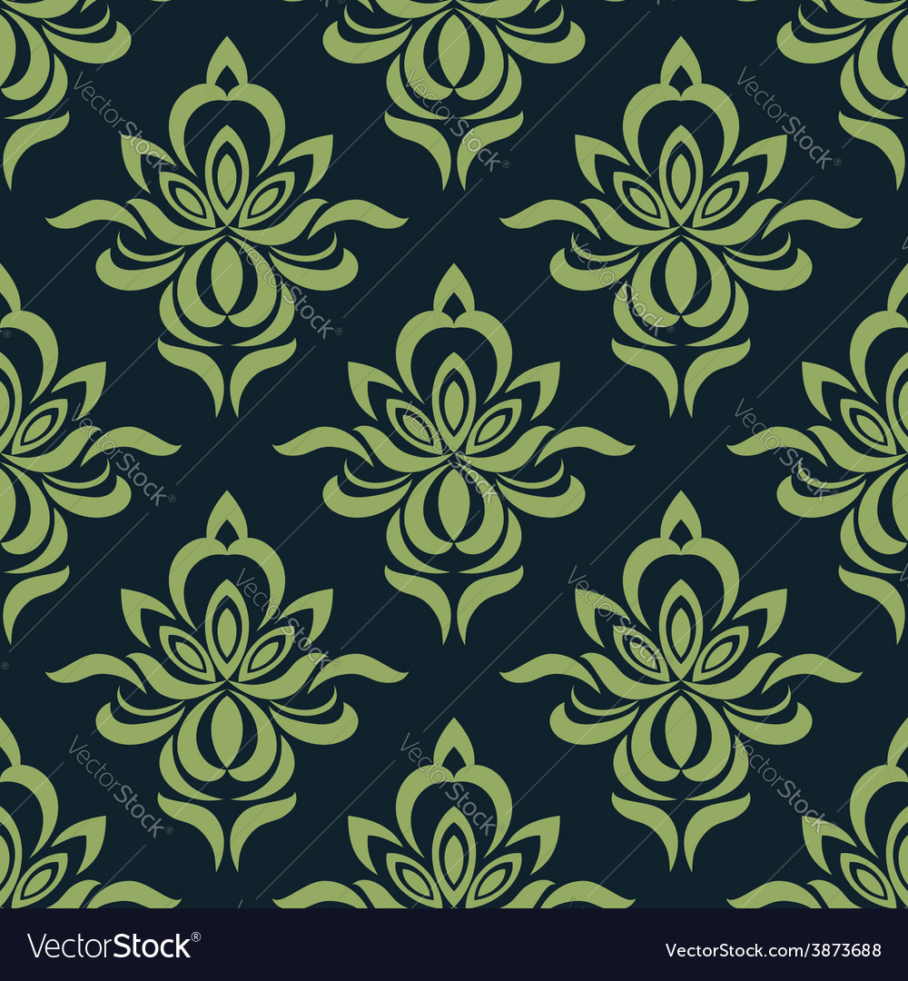 Abstract orchid flowers in damask seamless pattern vector | Price: 1 Credit (USD $1)