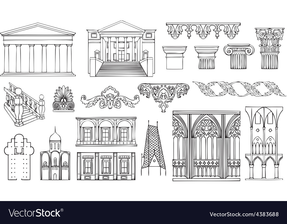 Architecture and ornaments set vector | Price: 1 Credit (USD $1)