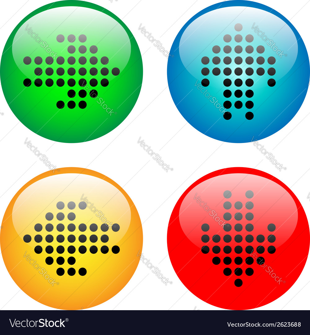 Arrows glass button icon set vector | Price: 1 Credit (USD $1)