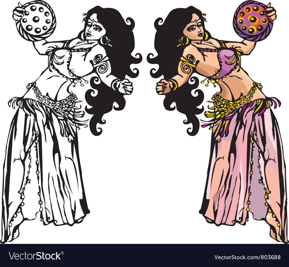 Belly dance with tambourine vector | Price: 3 Credit (USD $3)