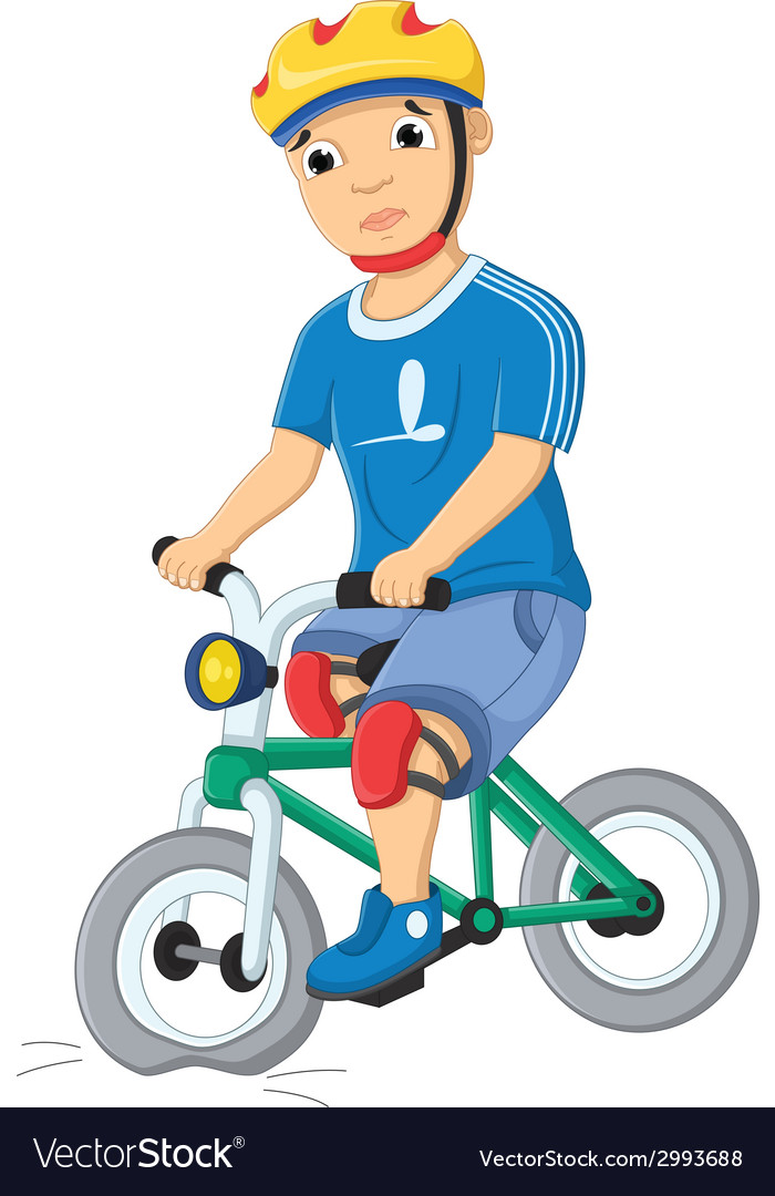Boy and destroyed bicycle vector | Price: 1 Credit (USD $1)