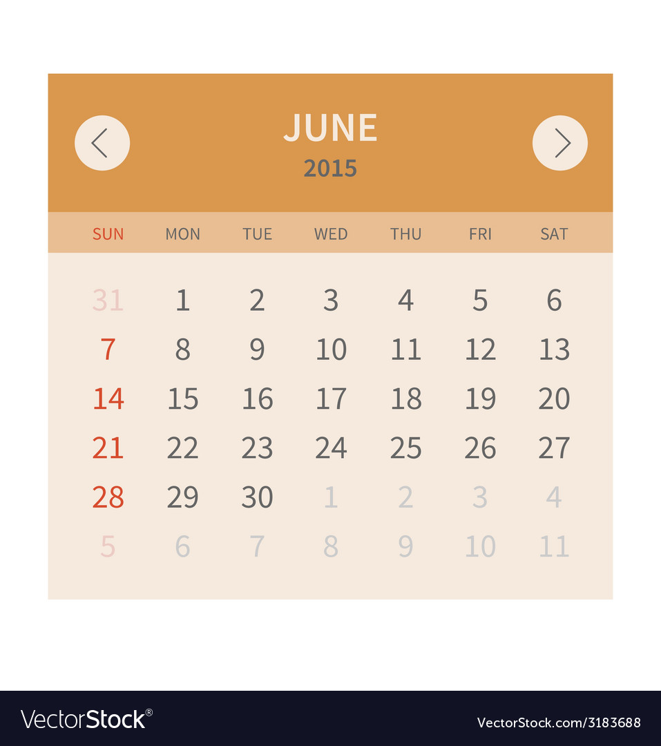 Calendar monthly june 2015 in flat design vector | Price: 1 Credit (USD $1)