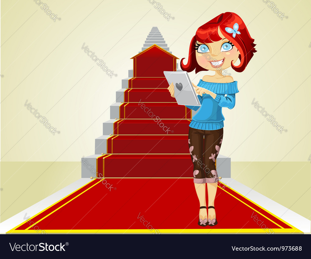 Cute girl with laptop on the career ladder vector   Price: 3 Credit (USD $3)