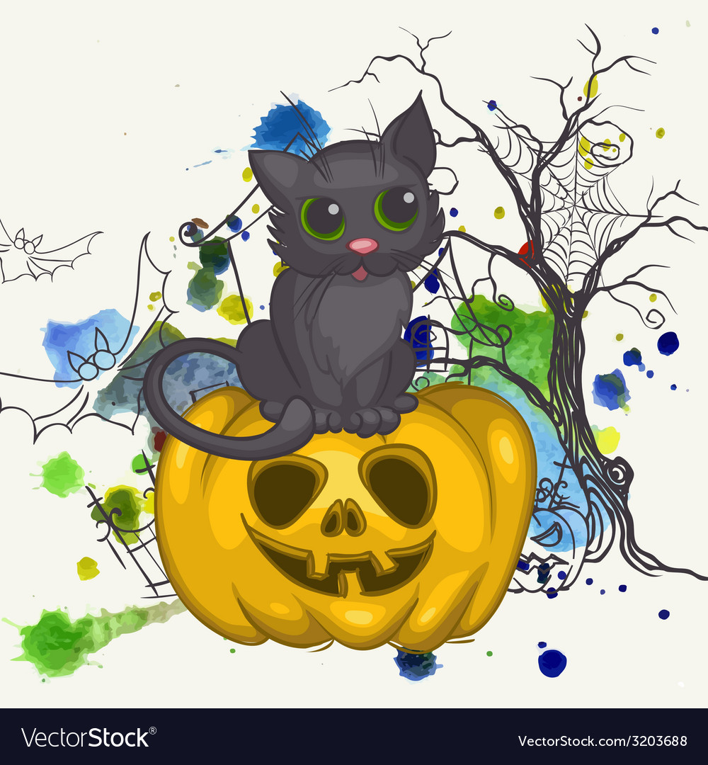 Halloween background with pumpkins and cat vector | Price: 1 Credit (USD $1)