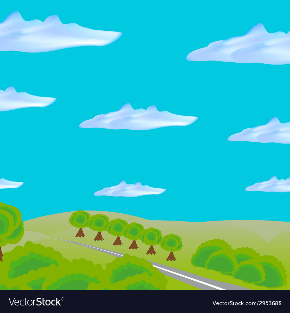 Landscape with road through field and forest vector | Price: 1 Credit (USD $1)
