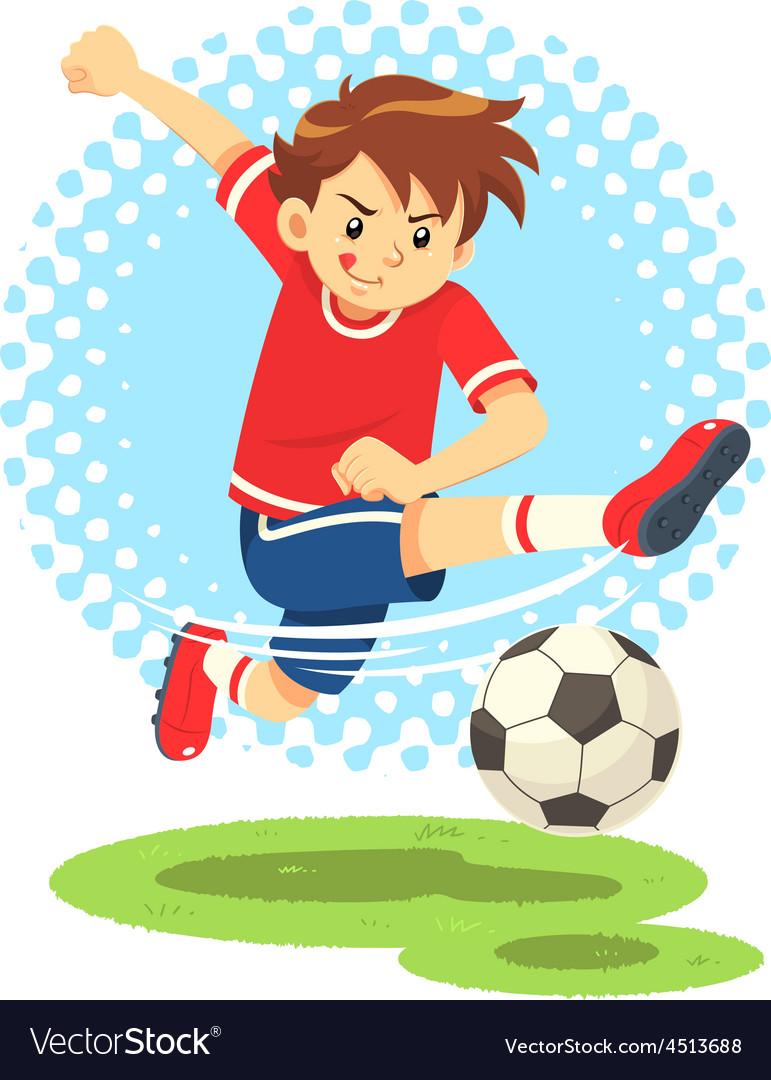 Soccer boy shooting the ball to make a goal vector | Price: 1 Credit (USD $1)