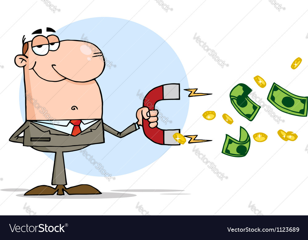Businessman using a magnet to attracts money vector | Price: 1 Credit (USD $1)