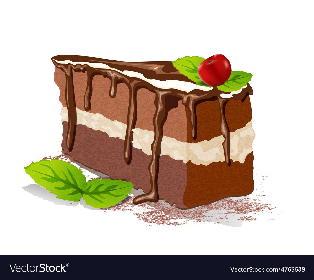 Cake with cream and cherry on a white background vector | Price: 3 Credit (USD $3)