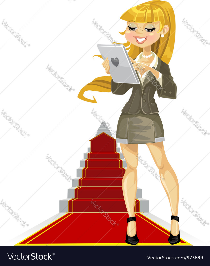 Cute girl with laptop on success ladder vector   Price: 3 Credit (USD $3)