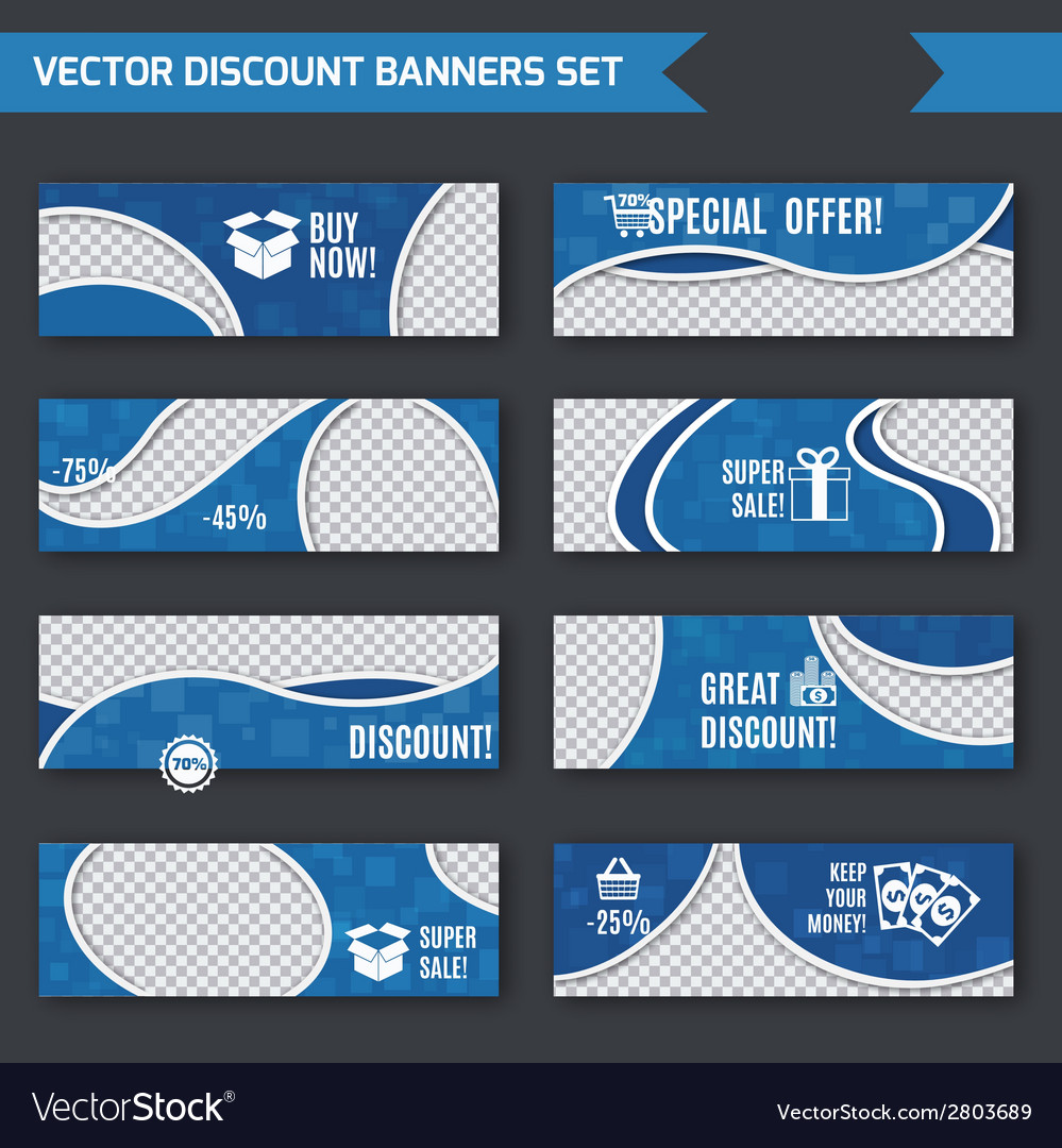 Discount banners blue set vector | Price: 1 Credit (USD $1)