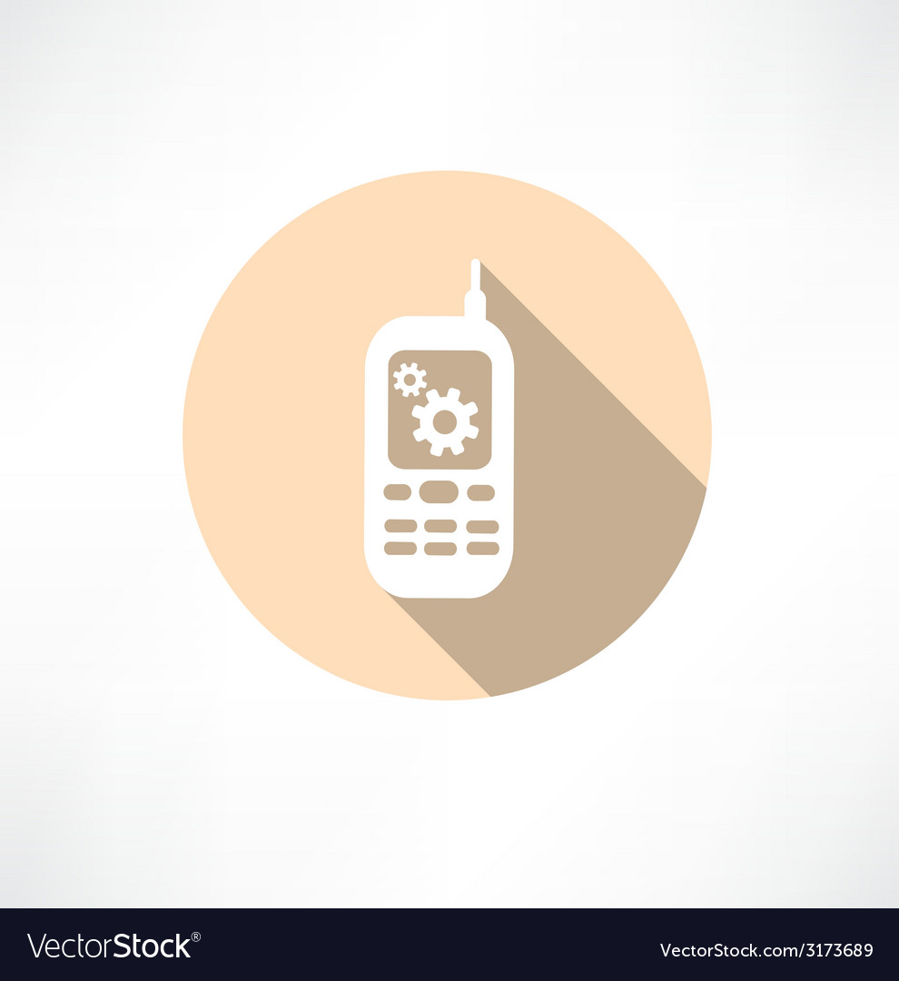 Gear settings phone icon vector | Price: 1 Credit (USD $1)