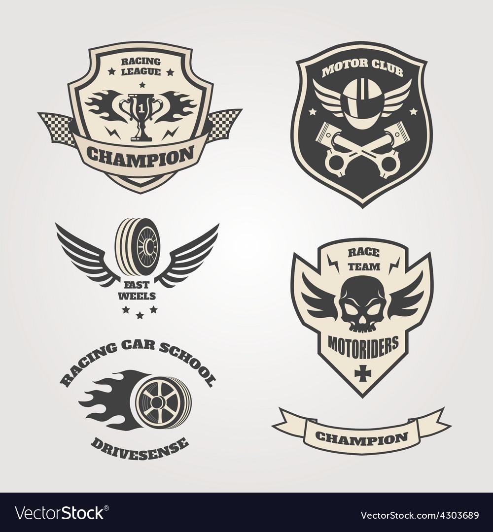 Grand prix racing motorclub emblems set isolated vector | Price: 1 Credit (USD $1)