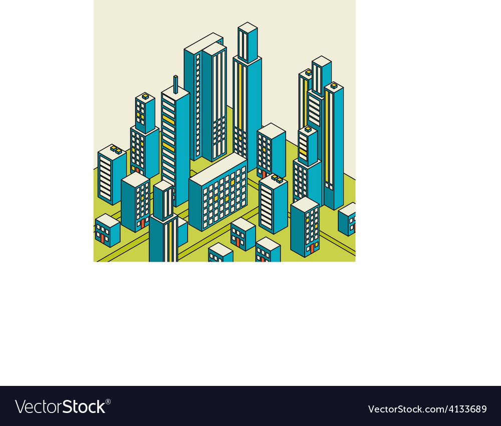 Isometric city center on the map with lots vector | Price: 1 Credit (USD $1)