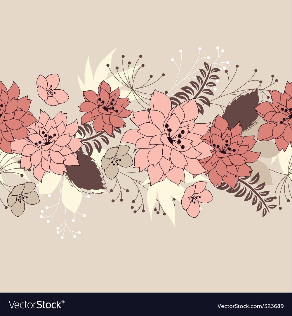 Seamless horizontal floral pink pattern vector | Price: 1 Credit (USD $1)