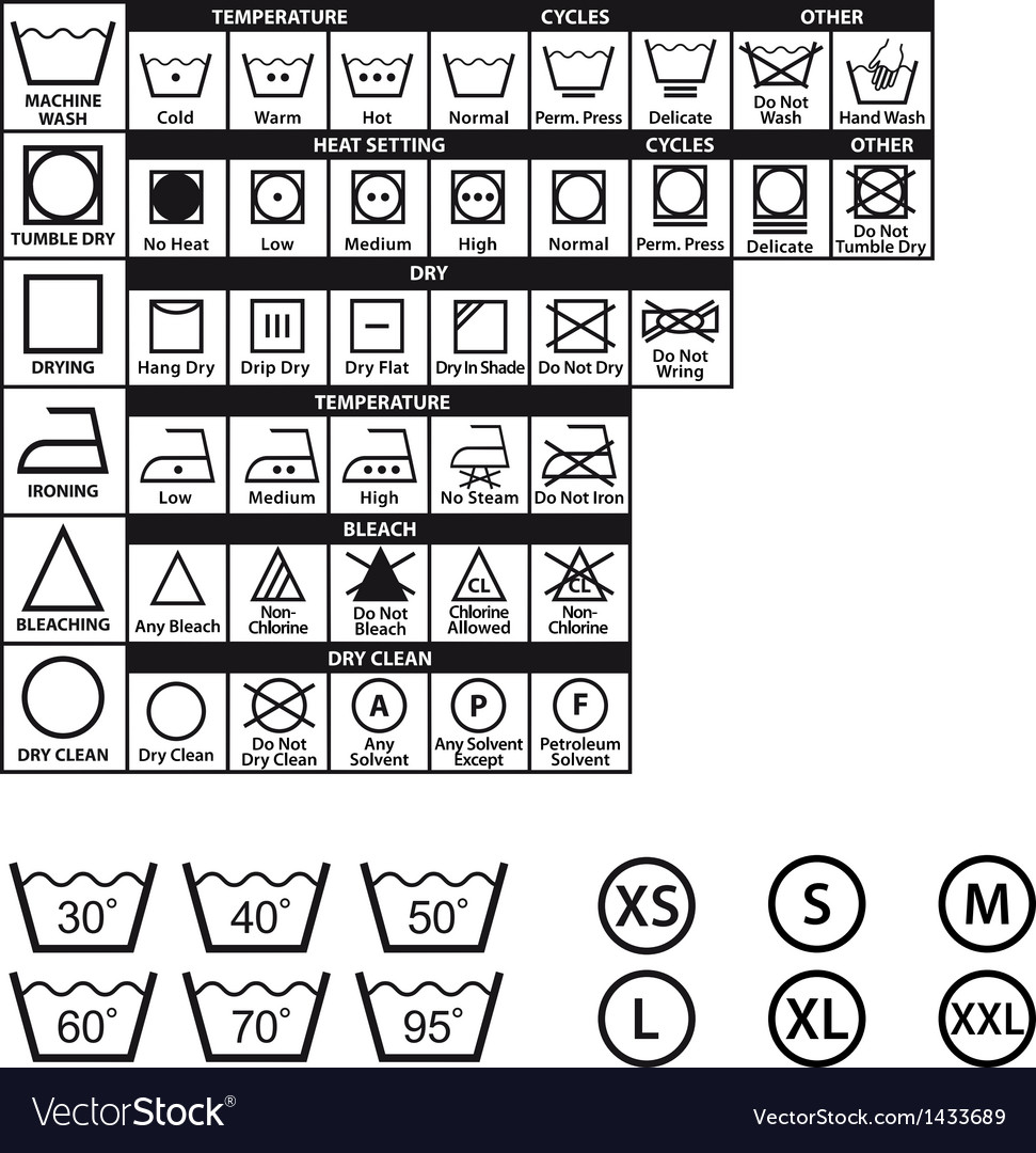 Textile care symbols set vector | Price: 1 Credit (USD $1)