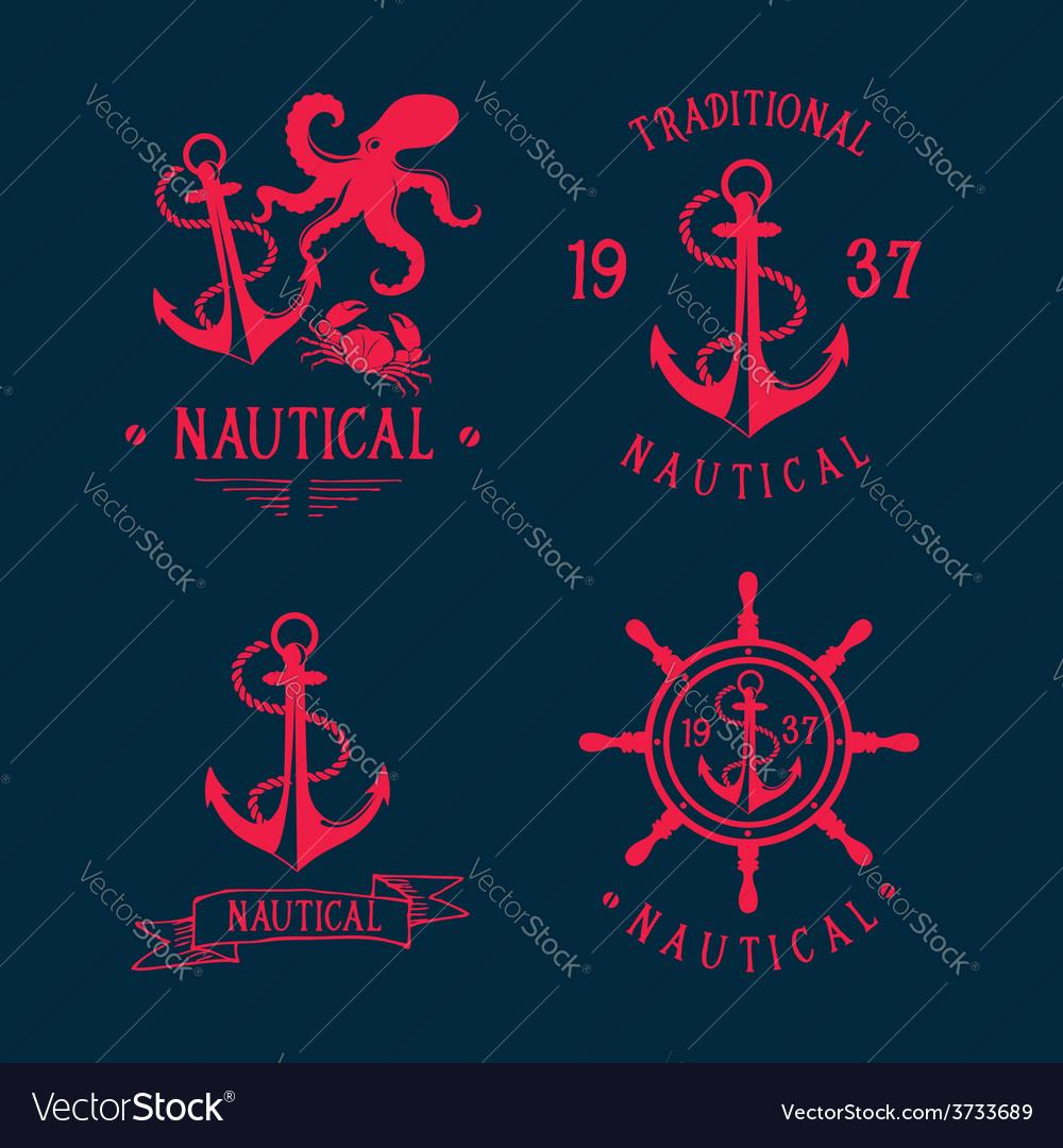 T-shirt design nautical marine badge design vector | Price: 1 Credit (USD $1)