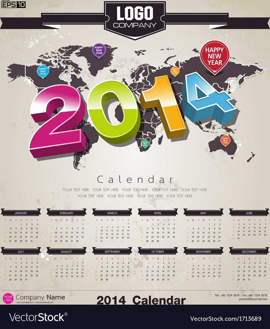 World map calender 2014 background vector | Price: 1 Credit (USD $1)