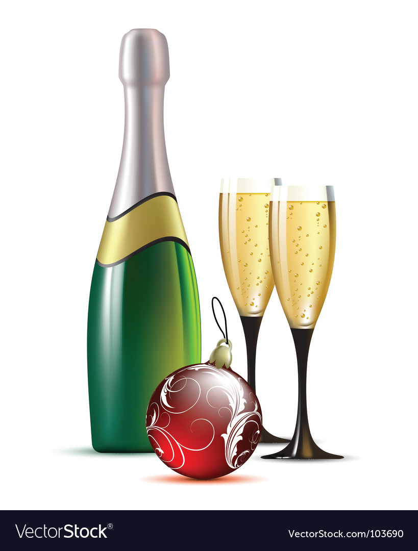 Champagne with fir ball vector | Price: 1 Credit (USD $1)