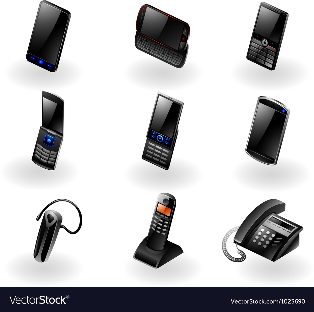 Electronics icon set - phones and communication vector | Price: 3 Credit (USD $3)