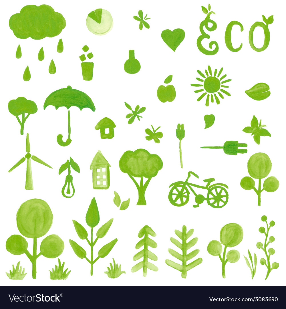 Handpaint watercolor green symbols vector | Price: 1 Credit (USD $1)