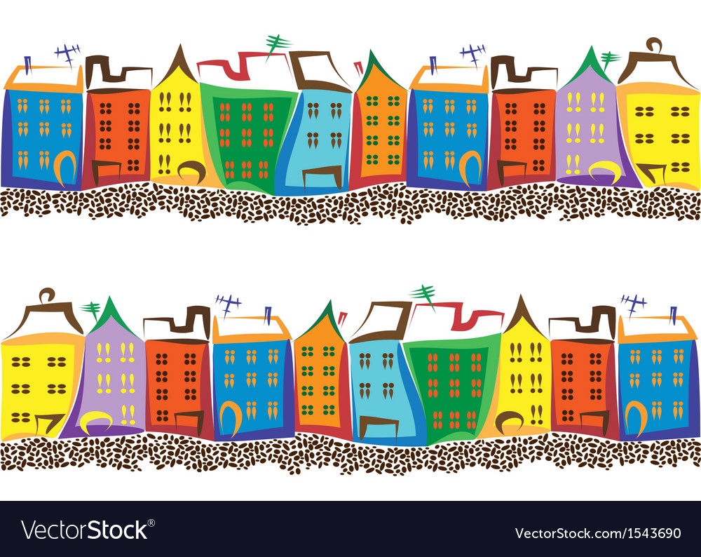 Old town with colored houses and paving stone vector | Price: 1 Credit (USD $1)