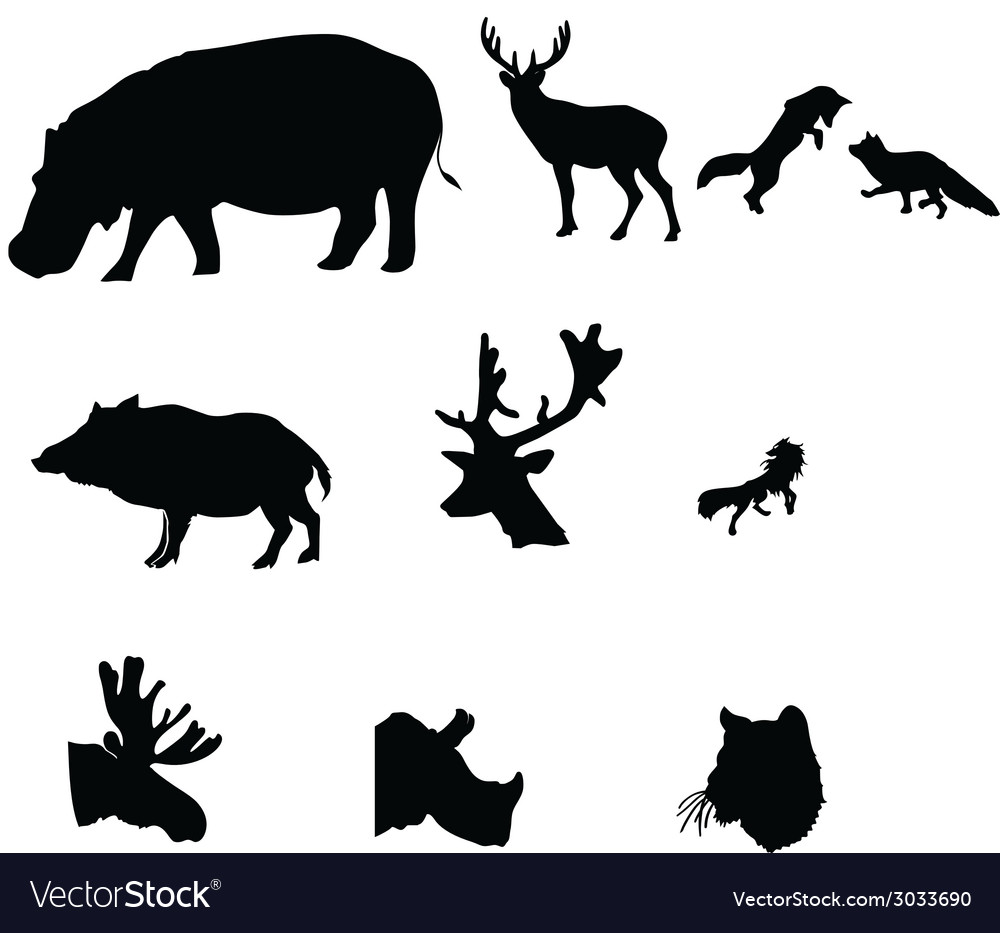Silhouette icon animal on white white backgro vector | Price: 1 Credit (USD $1)