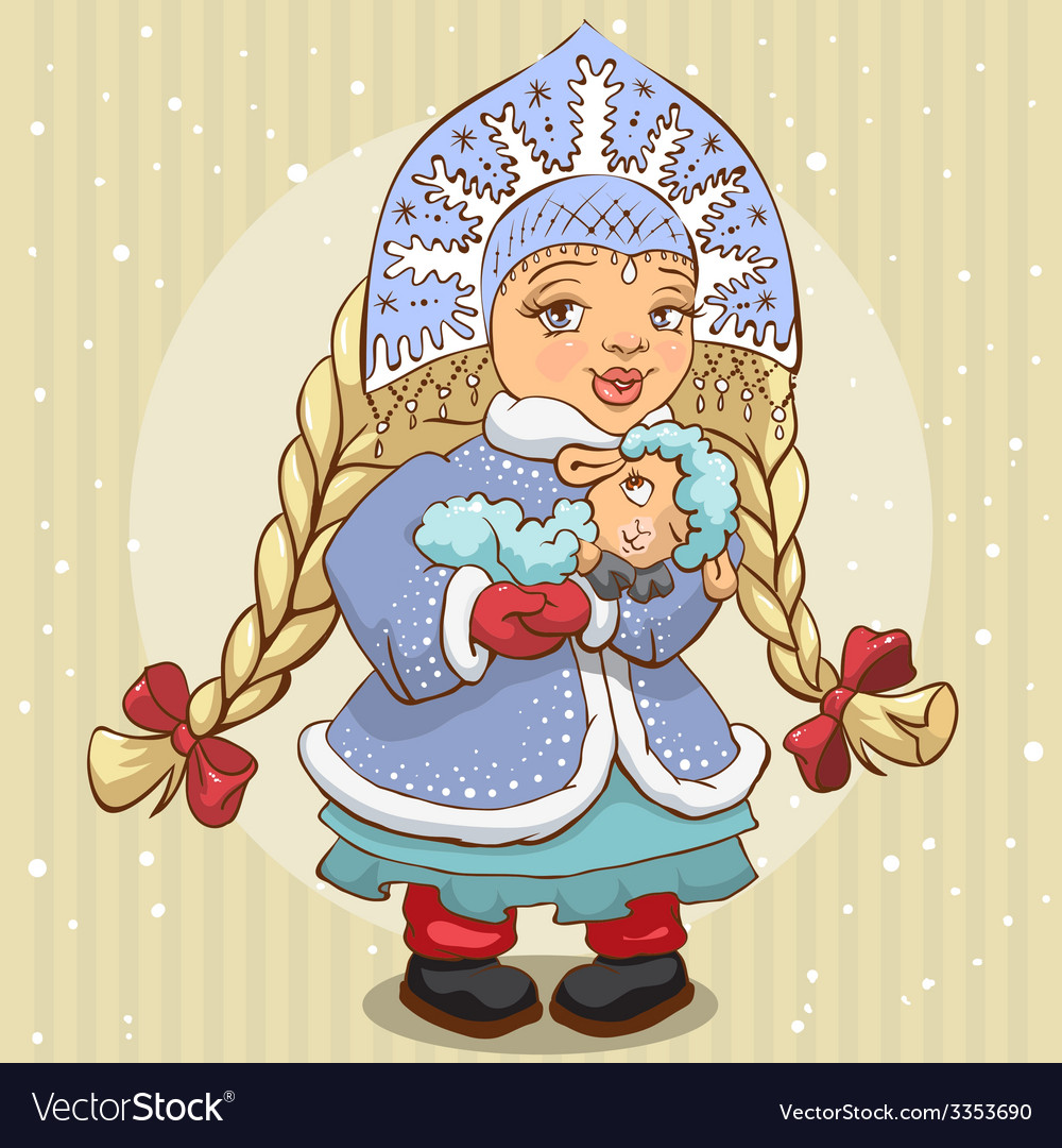 Snow maiden in blue fur coat holds a lamb vector | Price: 1 Credit (USD $1)