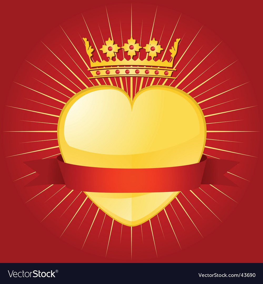 Valentine crown and banner vector | Price: 1 Credit (USD $1)