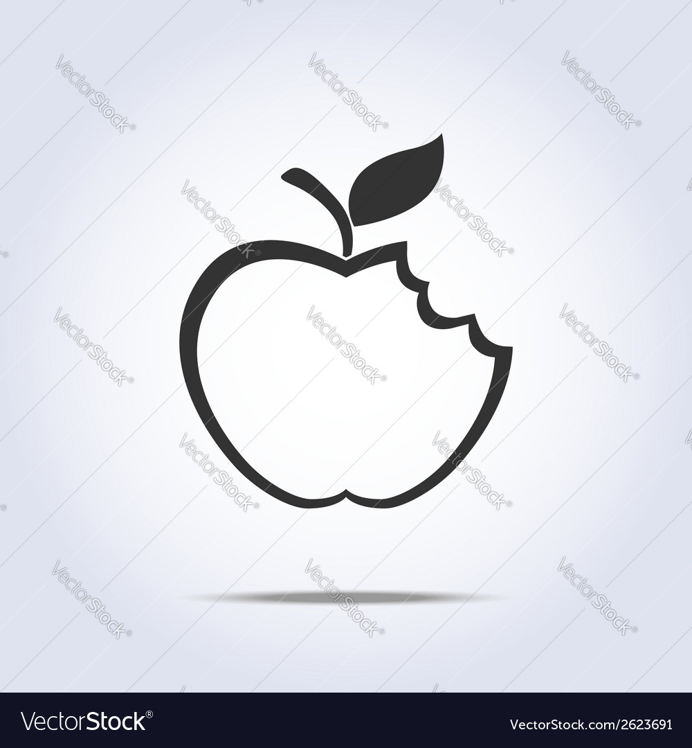 Bitten apple icon vector | Price: 1 Credit (USD $1)
