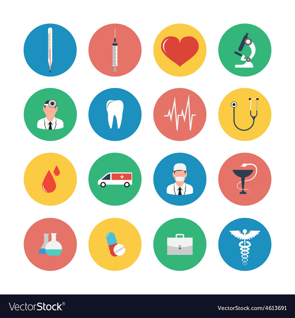 Flat icons set of medical equipment vector | Price: 1 Credit (USD $1)