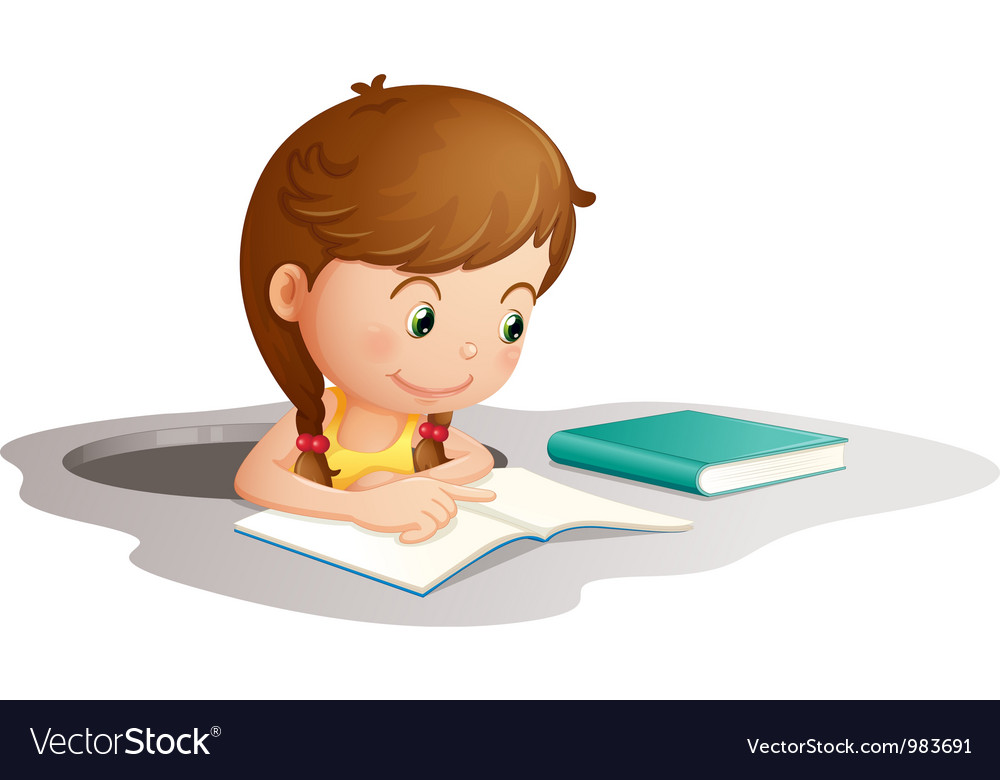 Girl reading book vector | Price: 3 Credit (USD $3)