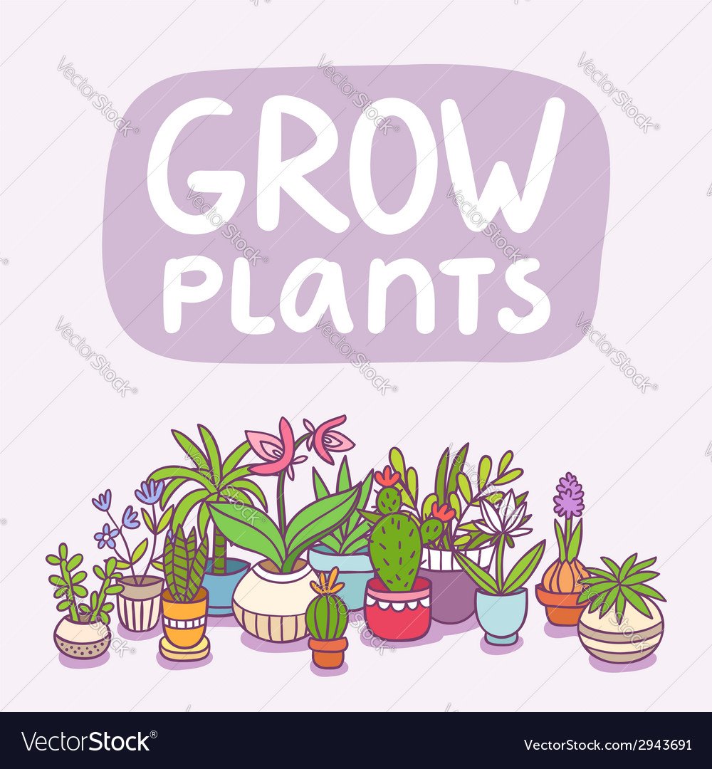 Grow plants vector | Price: 1 Credit (USD $1)