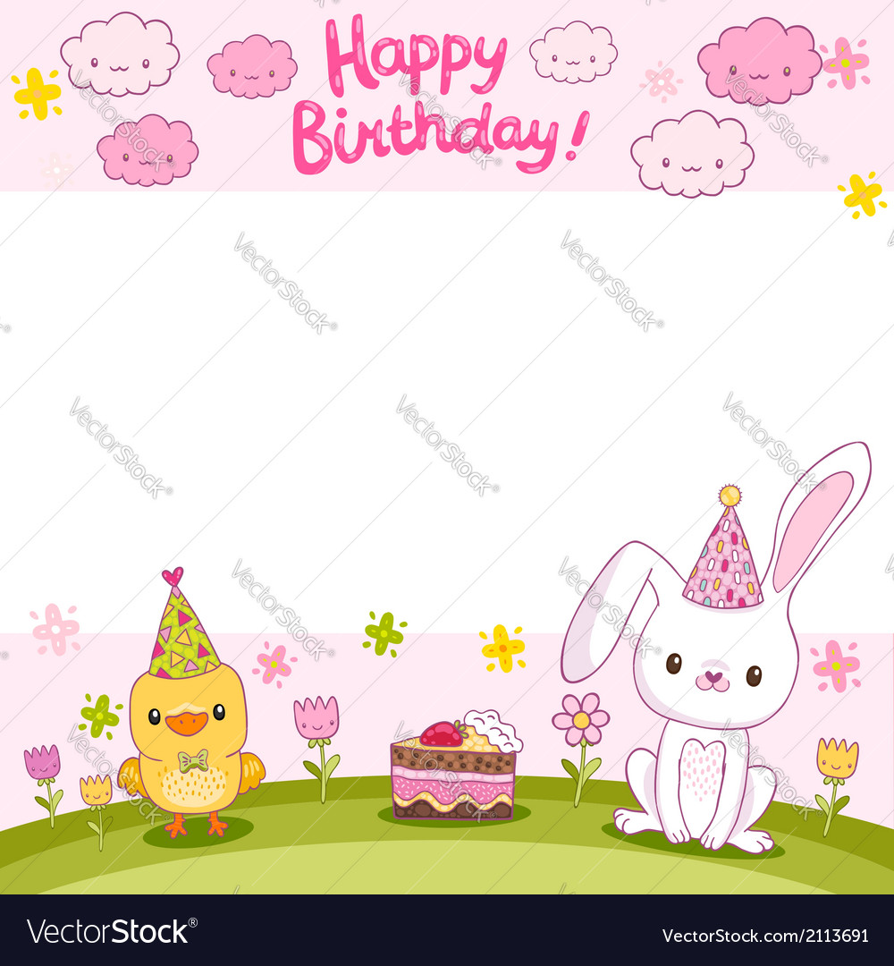 Happy birthday card with a bunny and bird vector | Price: 1 Credit (USD $1)